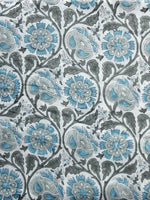 White Grey Blue Hand Block Printed Cotton Fabric Per Meter - F001F993
