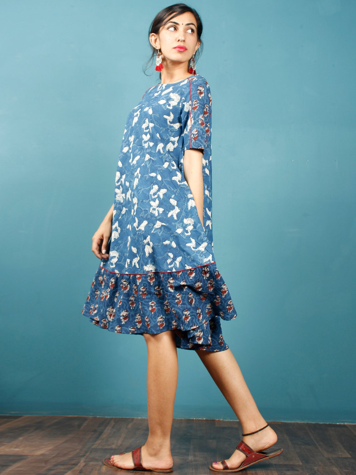 Indigo White Rust Hand Block Printed Cotton Short Dress  - D266F1348