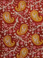 Red Yellow White Hand Block Printed Cotton Fabric Per Meter - F001F995