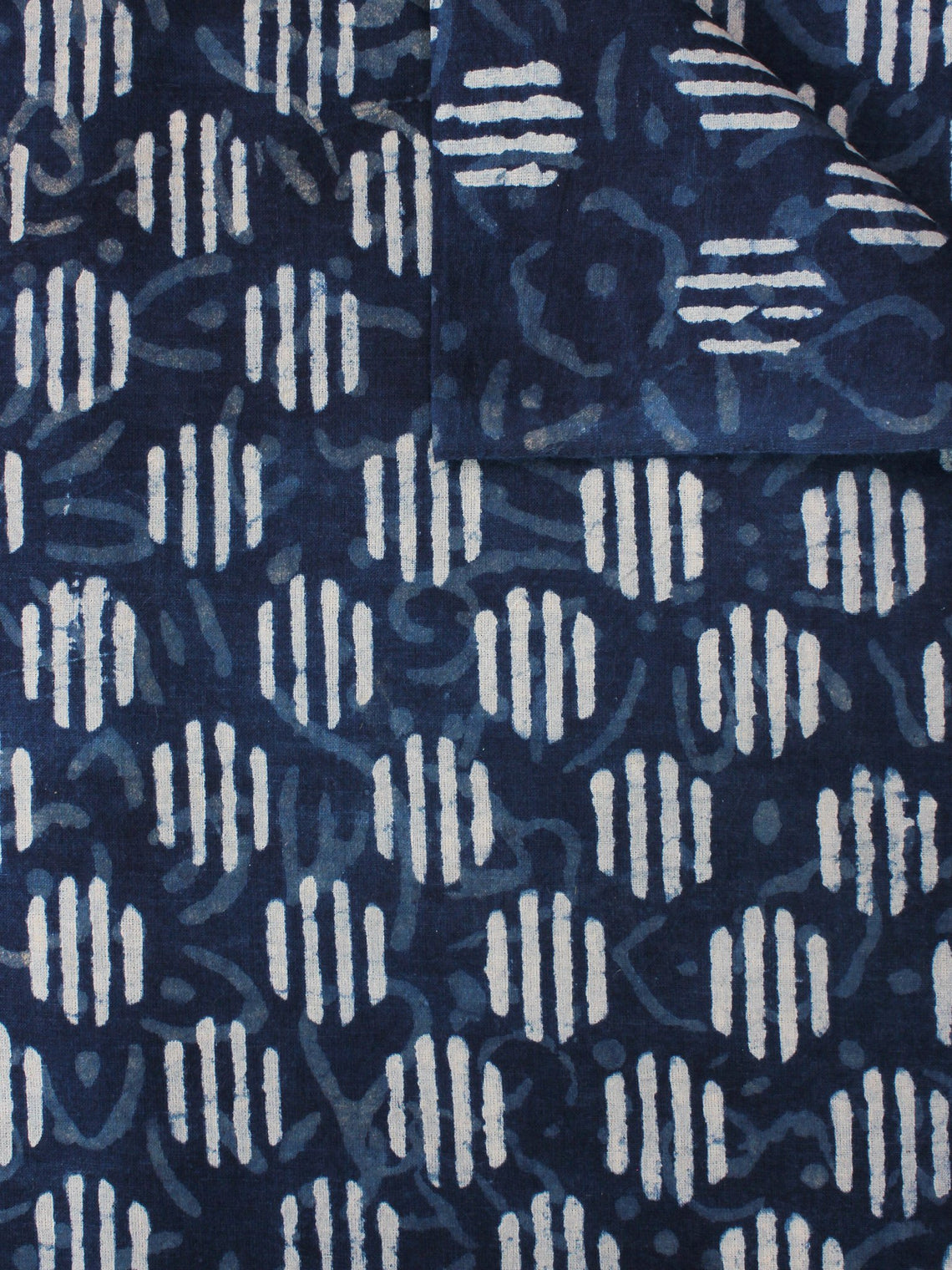 Indigo White Hand Block Printed Cotton Fabric Per Meter - F0916360