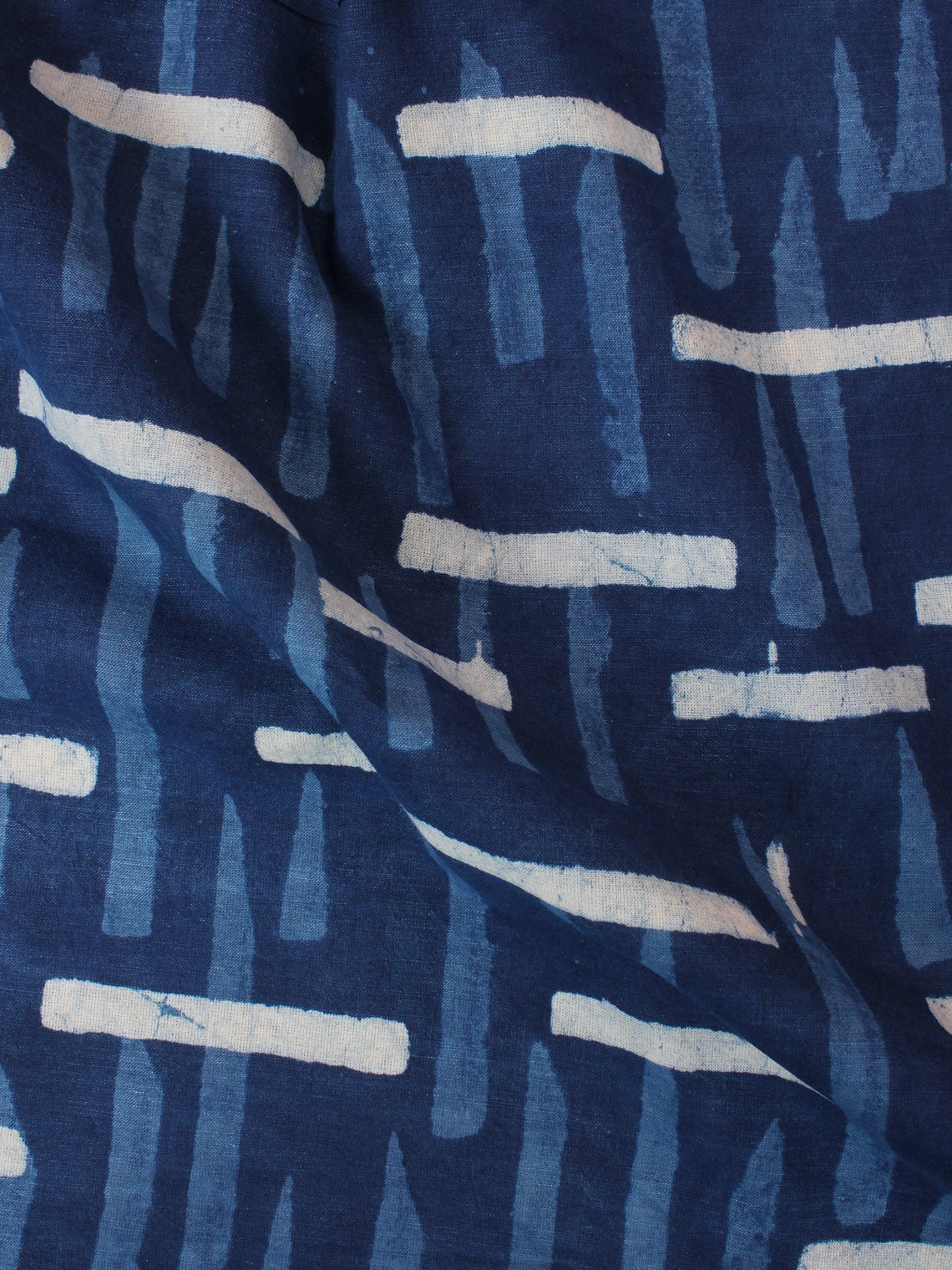Indigo Blue White Hand Block Printed Cotton Fabric Per Meter - F0916356