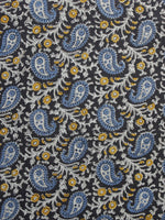 Black Blue Yellow White Hand Block Printed Cotton Fabric Per Meter - F001F996