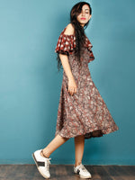 Brown Rust Beige Hand Block Printed Cotton Cape Dress With Cold Shoulders - D238F1370