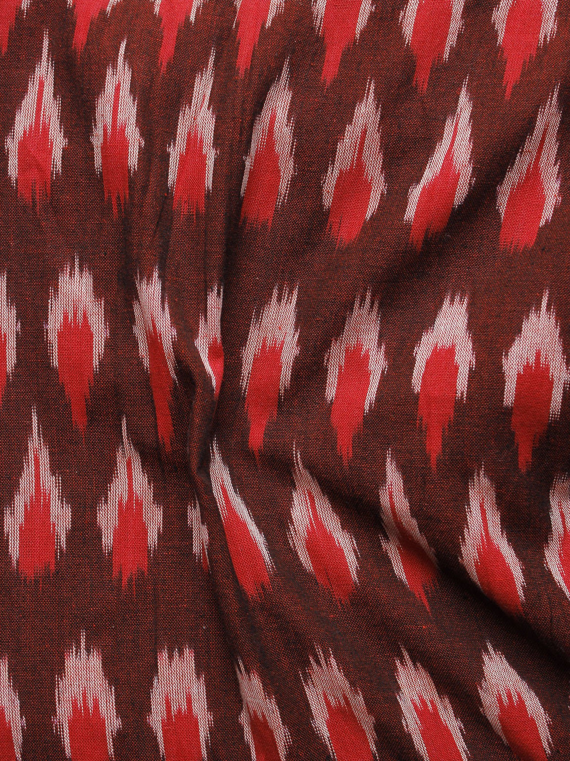 Reddish Brown Red Ivory Pochampally Hand Woven Ikat Fabric Per Meter - F002F963