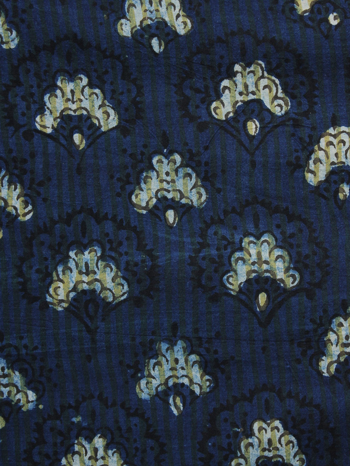 Indigo Ivory Black Hand Block Printed Cotton Fabric Per Meter - F001F999