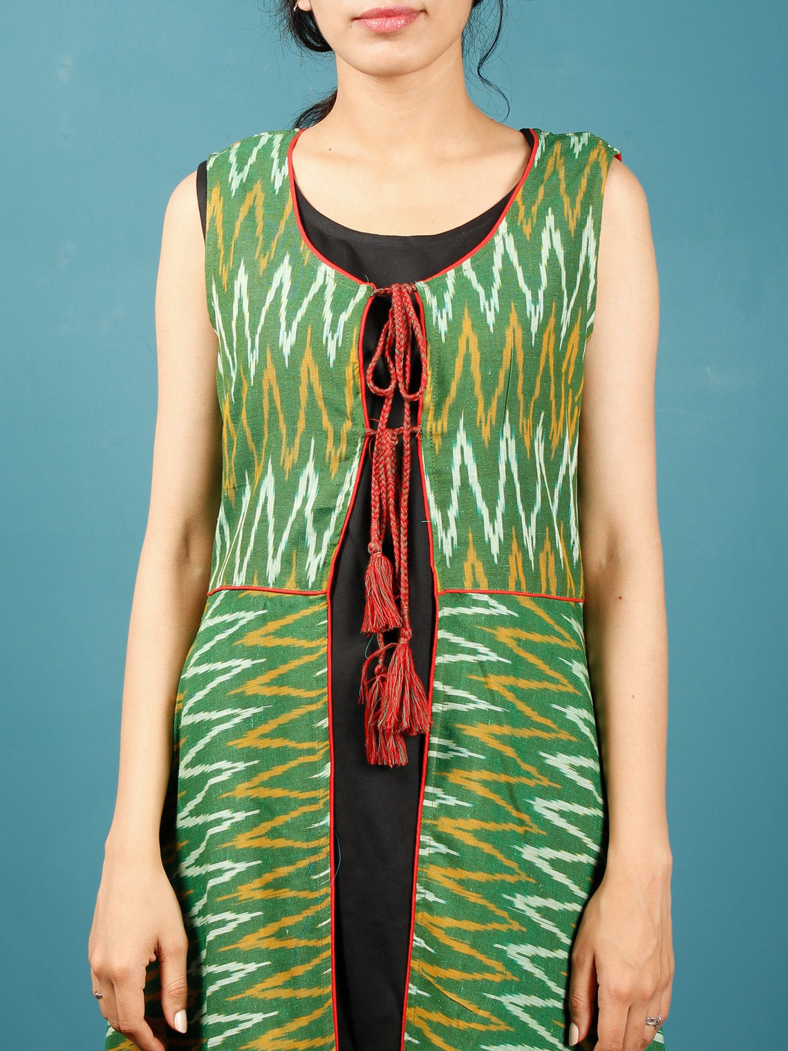 Green Mustard Black Hand Woven Ikat Cotton Cape Dress With Tassels  - D268F952