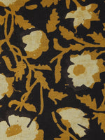 Black Mustard Ivory Hand Block Printed Cotton Fabric Per Meter - F001F1004