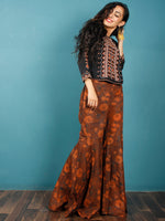 Brown Rust Indigo Hand Block Printed Semi Elasticated Waist Cotton Sharara  - Sh06F603
