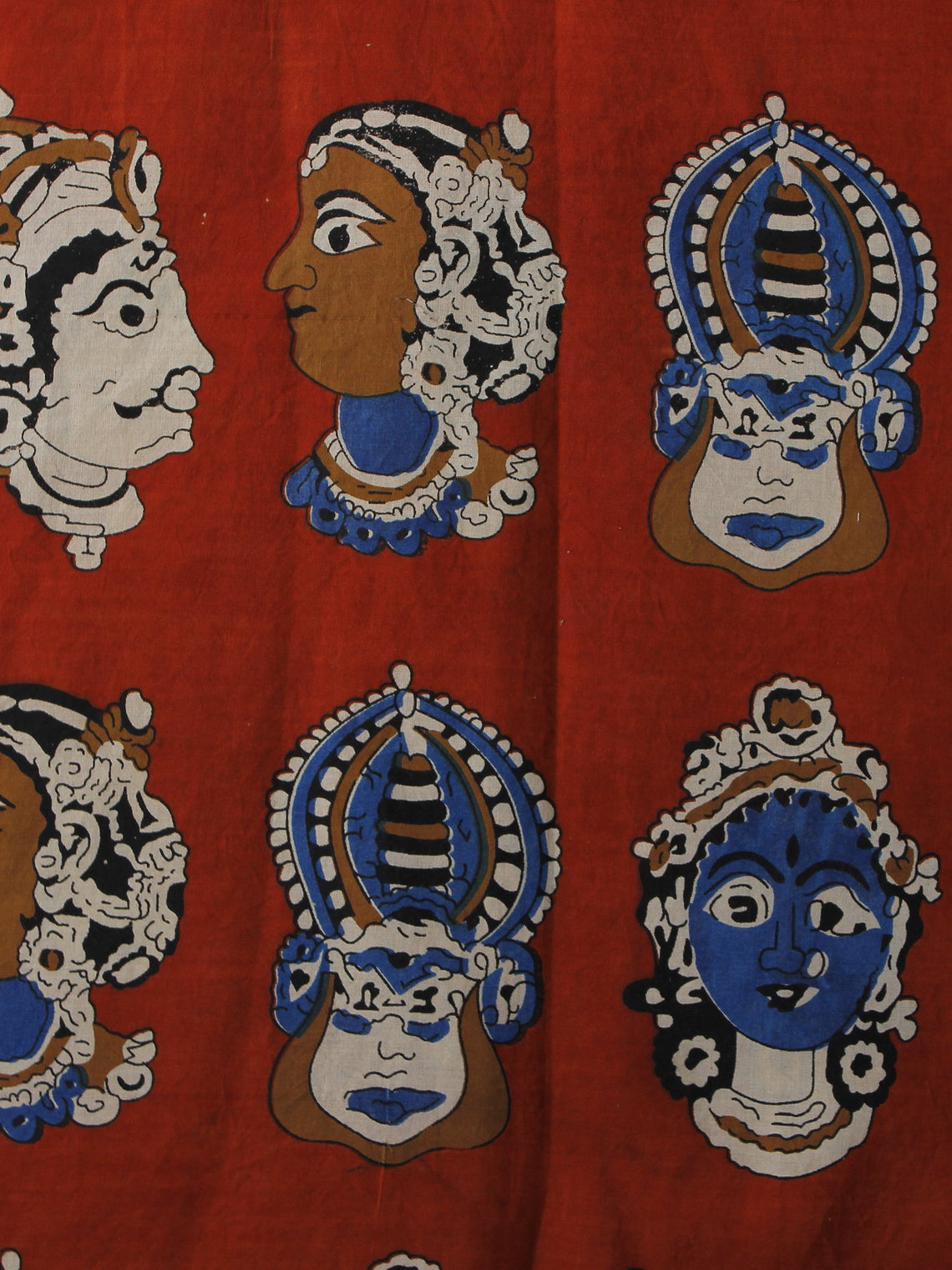 Red Beige Blue Black Hand Block Printed Cotton Fabric Per Meter - F001F1008