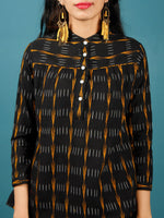Black Mustard  White Hand Woven Ikat Top With Round Collar  - T37F723