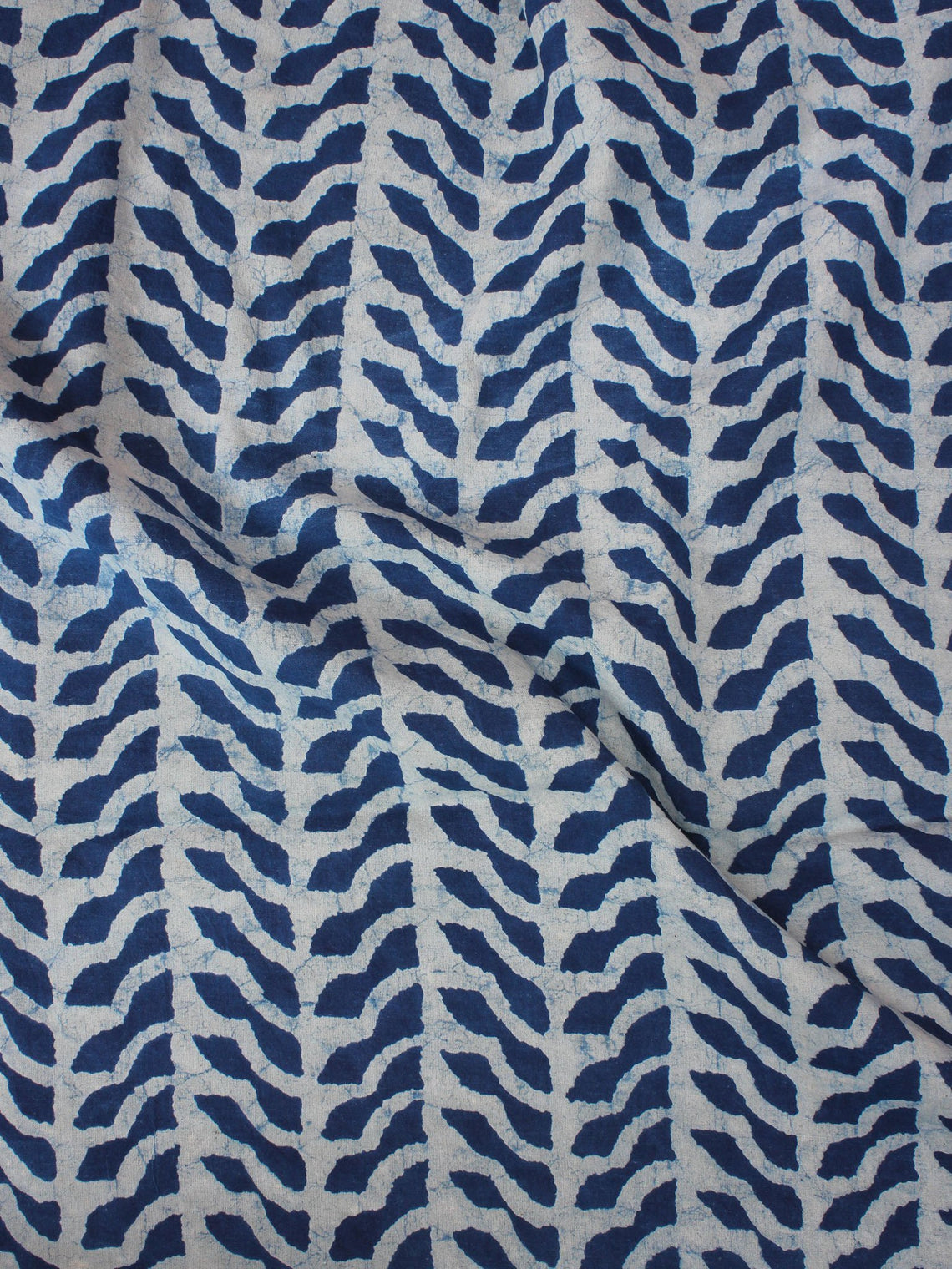 Indigo Ivory Natural Dyed Hand Block Printed Cotton Fabric Per Meter - F0916001