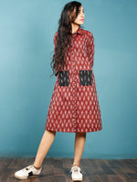 Maroon Black White Ikat Handwoven Shirt Dress With Front Pockets - D239F965