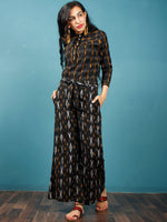 Black Grey Mustard Hand Woven Ikat Culottes Trousers With Belt- T032F813