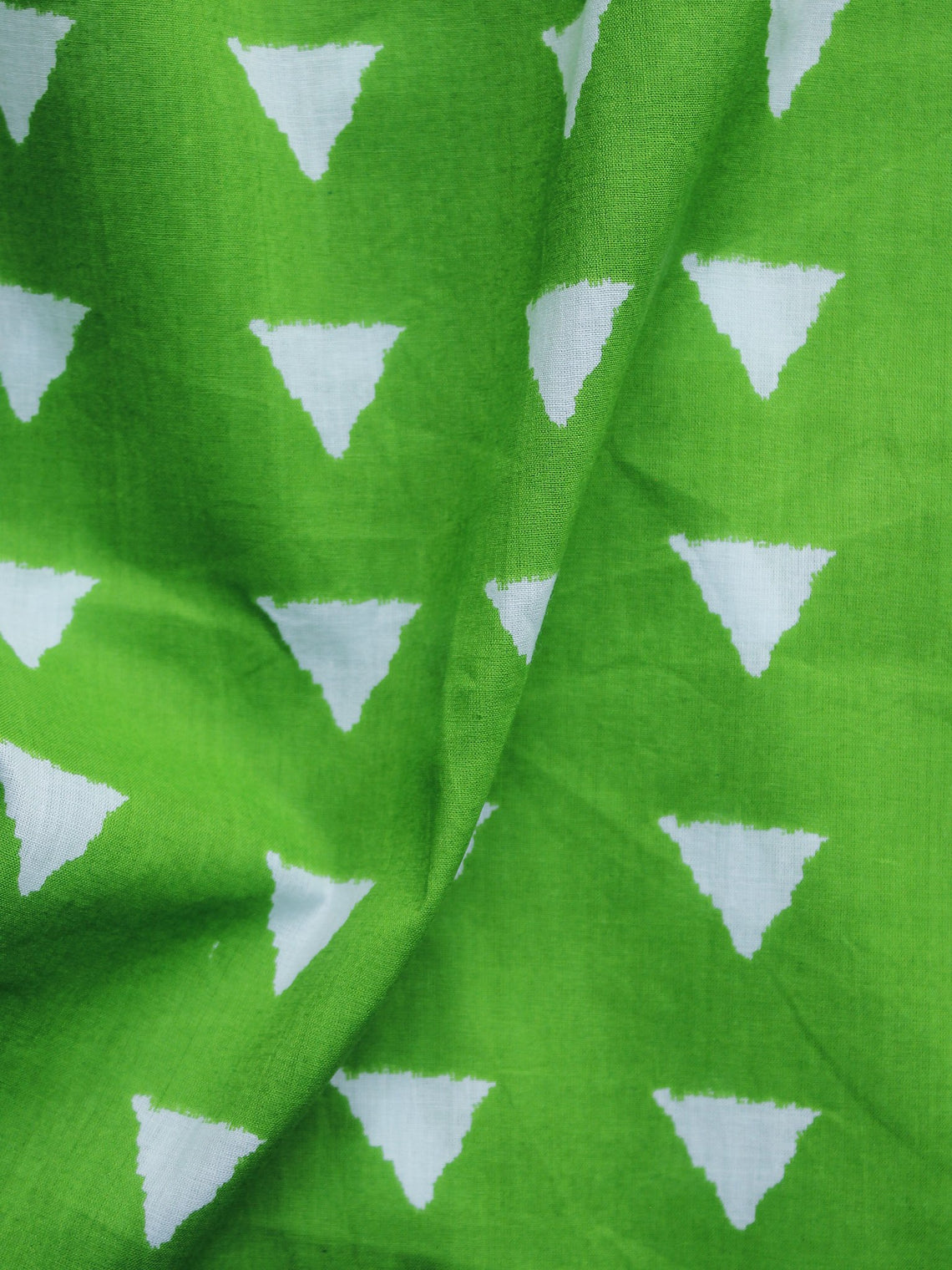 Chartreuse Green Ivory Hand Block Printed Cotton Fabric Per Meter - F001F1009