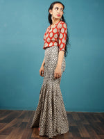 Ivory Black Hand Block Printed Semi Elasticated Waist Cotton Sharara  - Sh07F1345