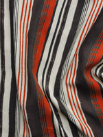 Black Red White Hand Block Printed Rayon Fabric Per Meter - F001F1014