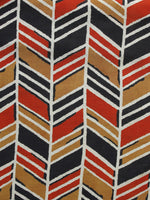 Mustard Black Red White Hand Block Printed Rayon Fabric Per Meter - F001F1017