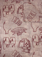 Beige Maroon Natural Dyed Hand Block Printed Cotton Fabric Per Meter - F0916305