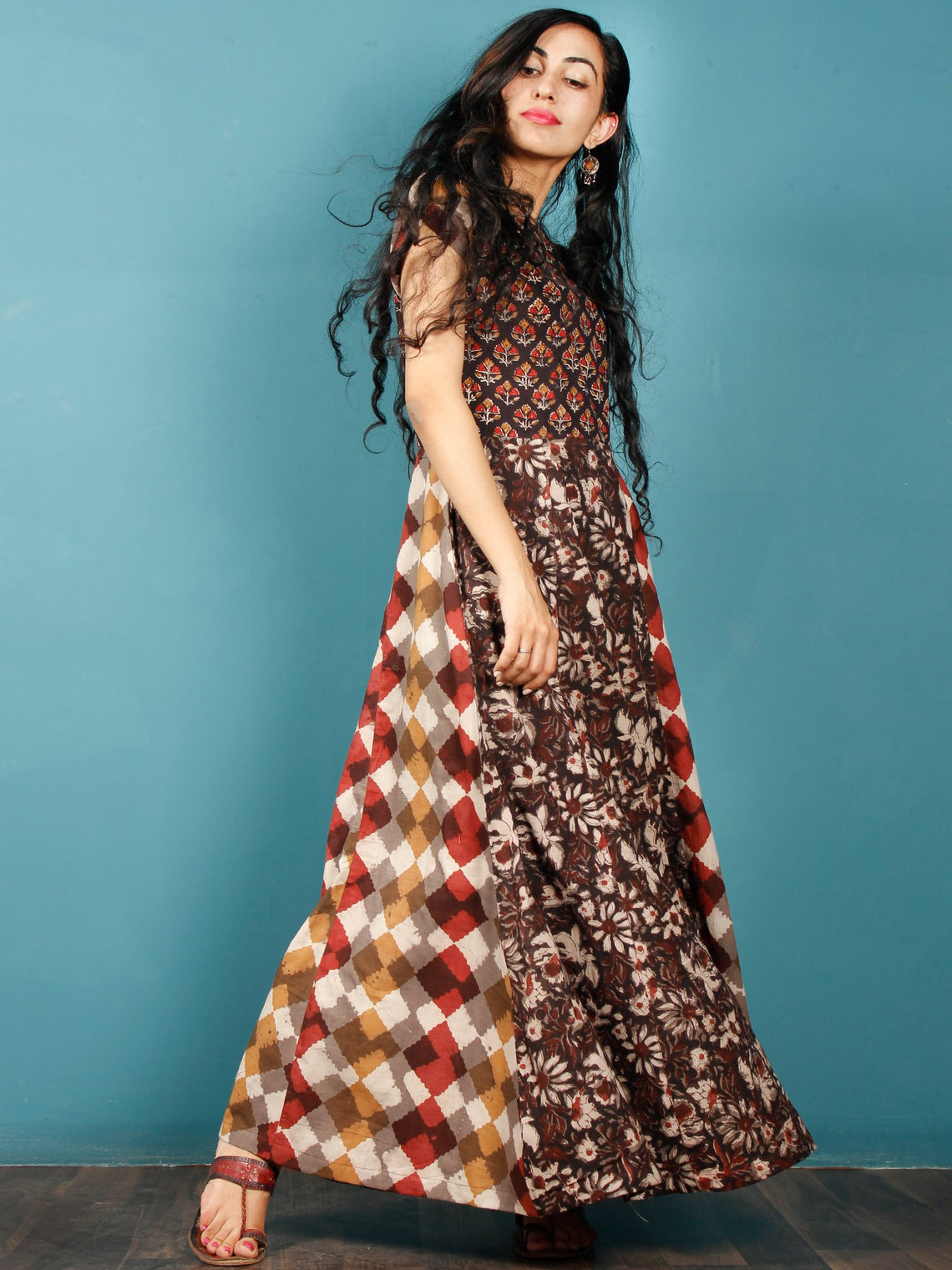 Brown Maroon Mustard Beige Hand Block Printed Long Cotton Panel Dress With Petal Sleeves  - D224F1323
