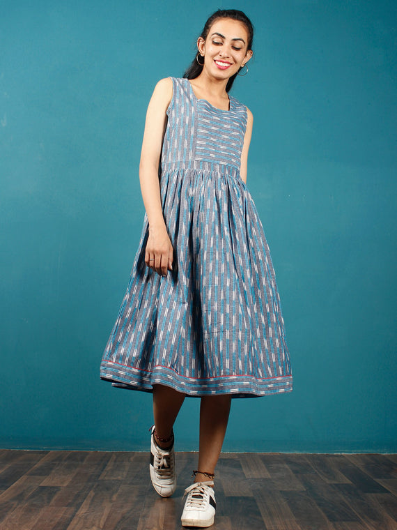 Blue Grey White Hand Woven Ikat Cotton Dress  - D272F1242