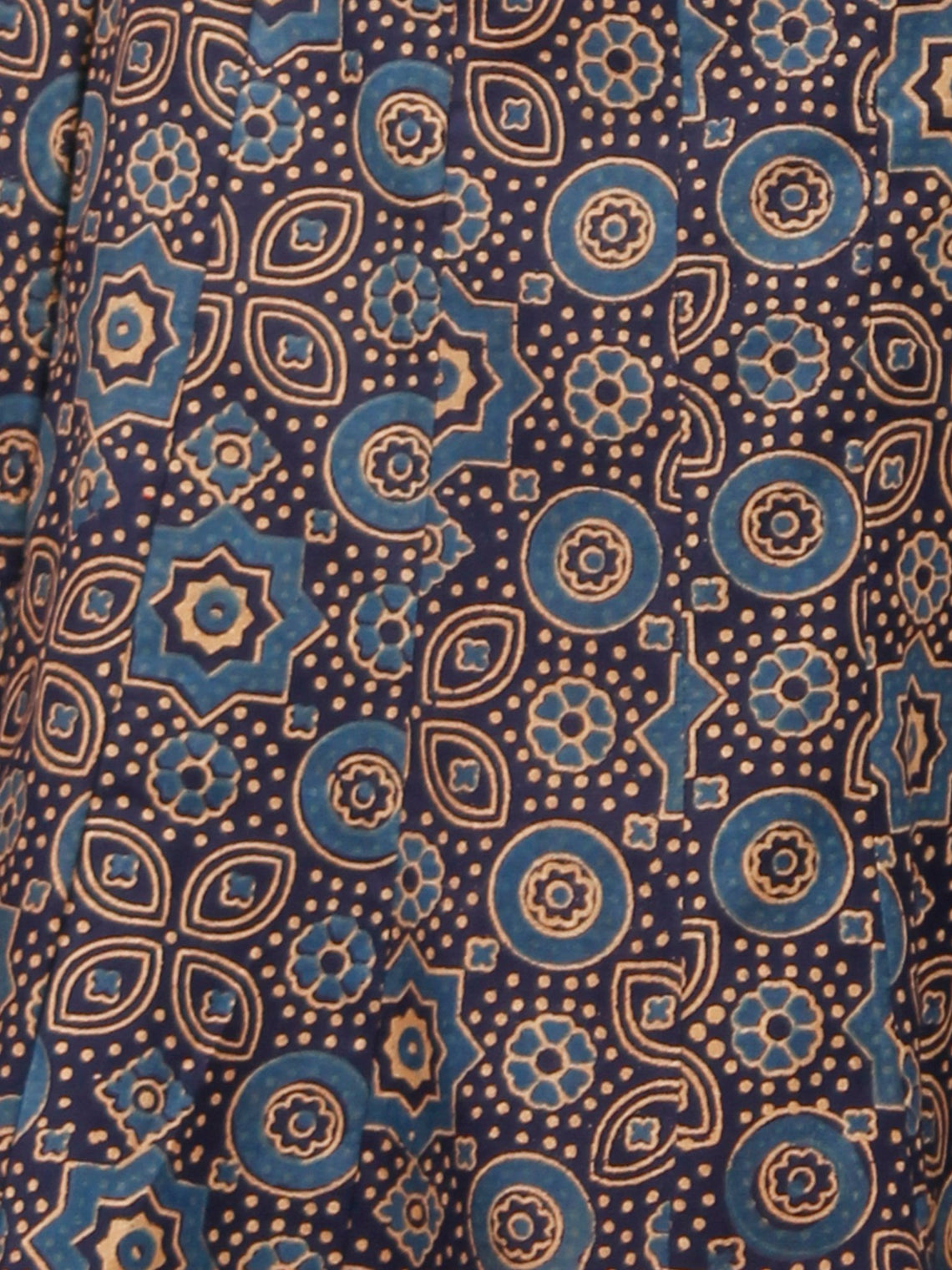 Indigo Mustard Blue Ajrakh Block Printed Pleated Cotton Sharara  - Sh13F704