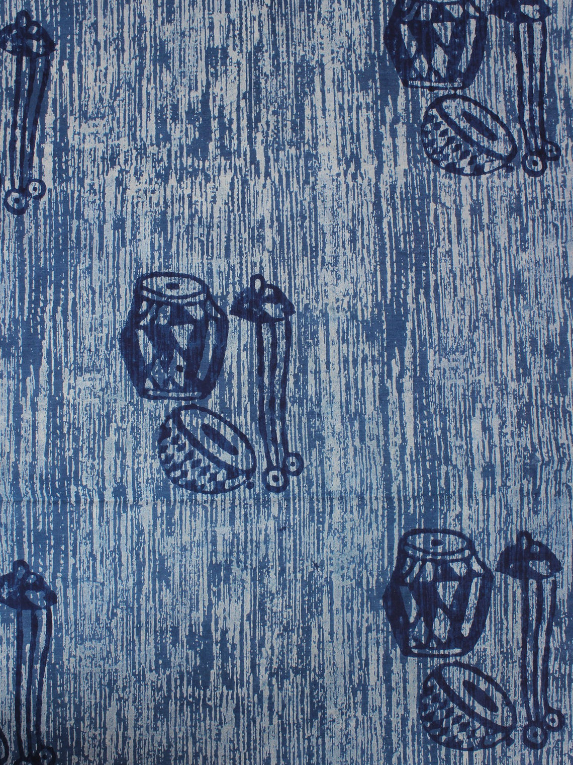 Indigo Ivory Natural Dyed Hand Block Printed Cotton Fabric Per Meter - F0916297
