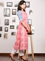 Pink Blue White Hand Block Printed Kurta in Natural Colors - K81F1480