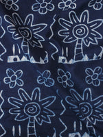 Indigo White Natural Dyed Hand Block Printed Cotton Fabric Per Meter - F0916302