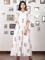 White Pink Green Hand Block Printed Panel Cotton Long Dress - D282BF1502
