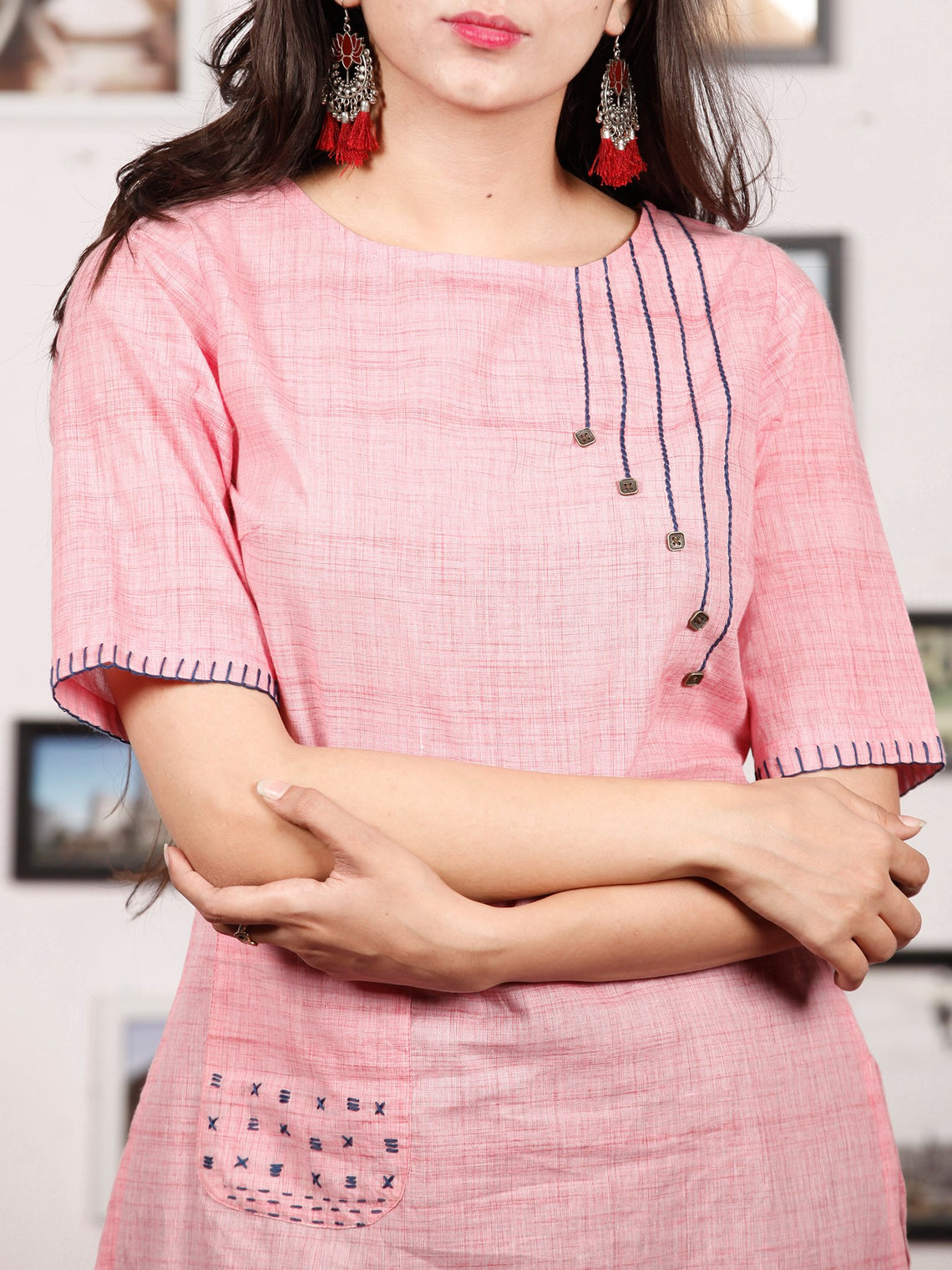 Pink Hand Embroidered South Handloom Cotton Kurta   - K132FXXX