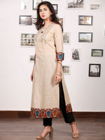 Beige Hand Embroidered South Handloom Cotton Kurta With Kalamkari Patch   - K133F1488
