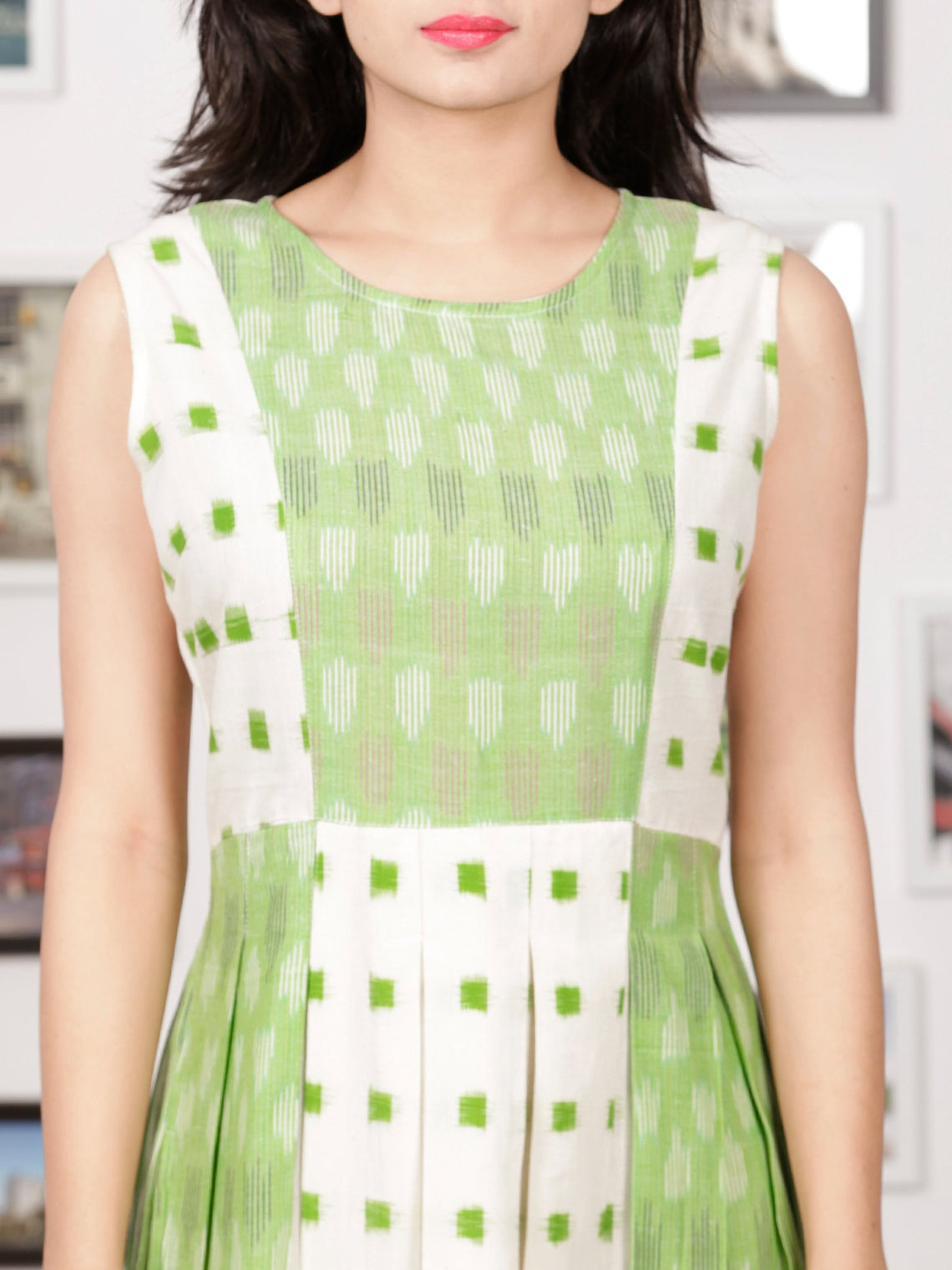 White Pastel Green Long Sleeveless Handwoven Double Ikat Dress With Side Pockets - D275F1451