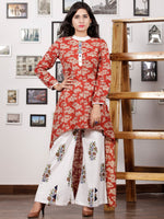 Red Beige White Hand Block Printed Cotton Asymmetric Kurta & Palazzo Dress (Set of 2) - D284F1306