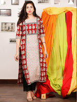 White Maroon Bagh Printed Kurta in Natural Colors - K135F1703