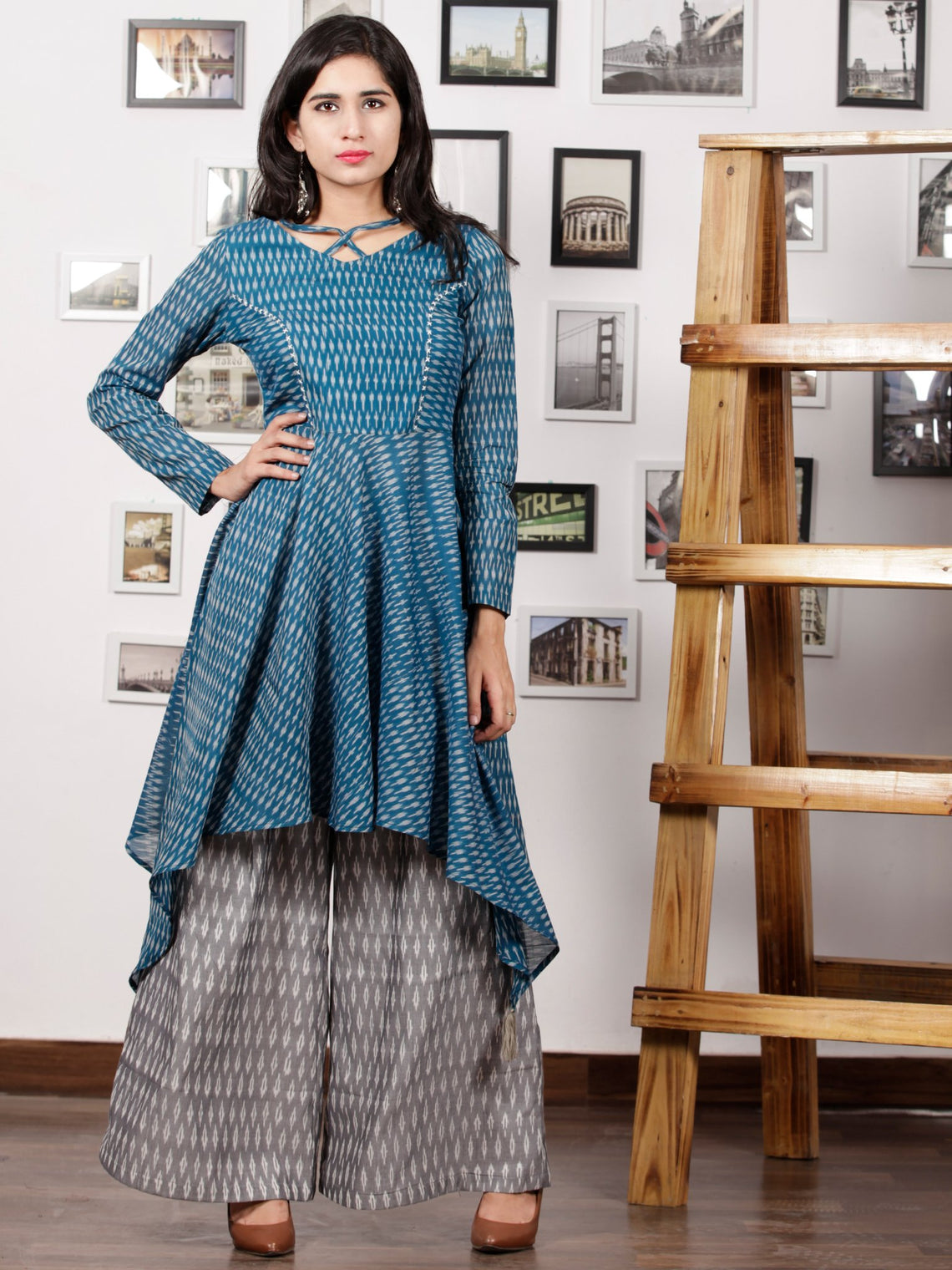 Teal Blue Grey Hand Woven Ikat Asymmetric Kurta & Culottes Dress (Set of 2) - D285F1438