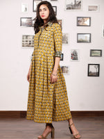 MUSTARD BLOOM - Hand Block Printed Cotton Long Dress  - D329F1735