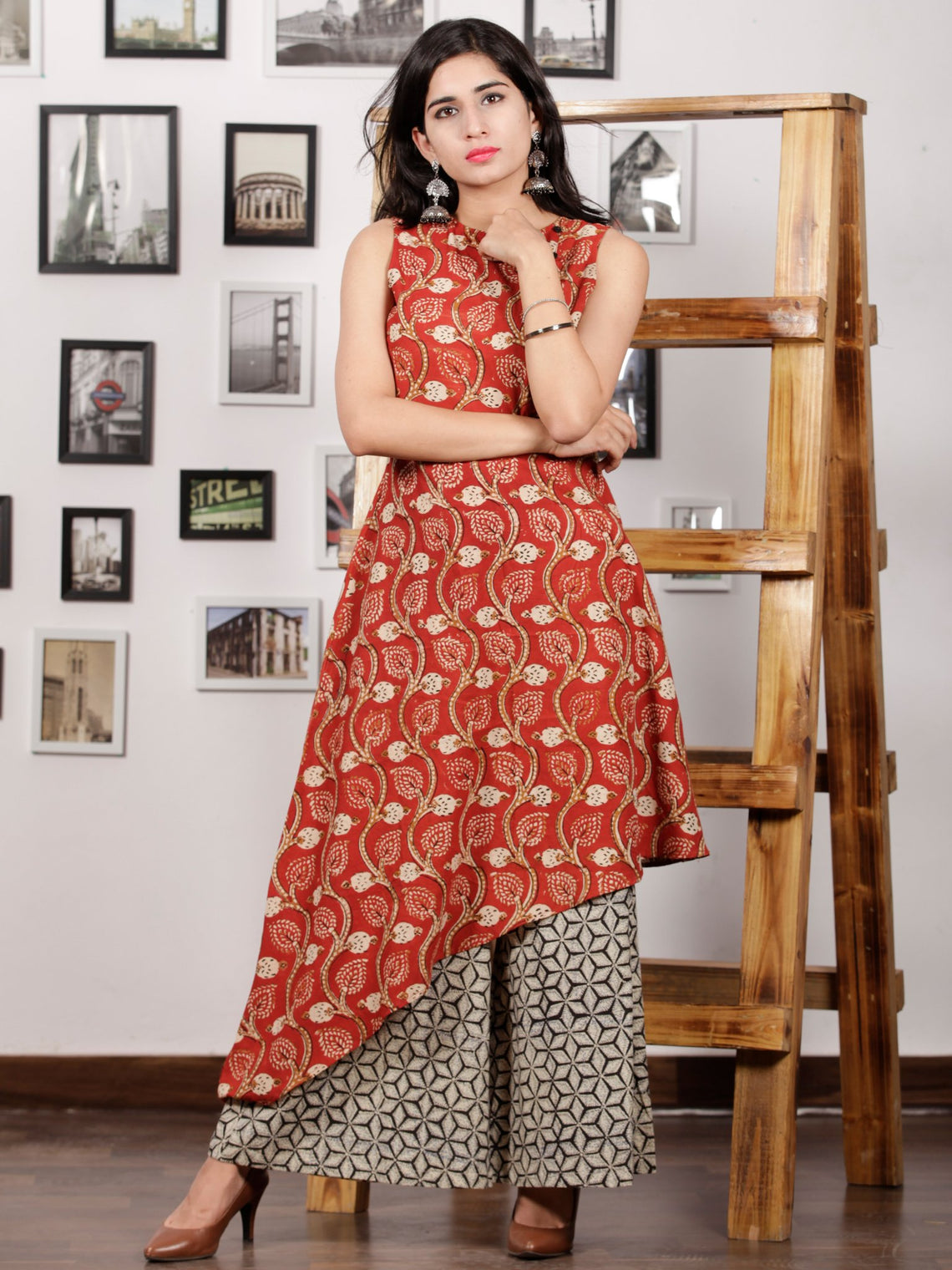 Red Beige Black Ivory Hand Block Printed Cotton Asymmetric Kurta & Palazzo Dress (Set of 2) - D287F1367