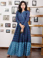 Indigo Blue Grey Handloom Mercerised Ikat Long Cotton Tier Dress With Gathers - D169F1298