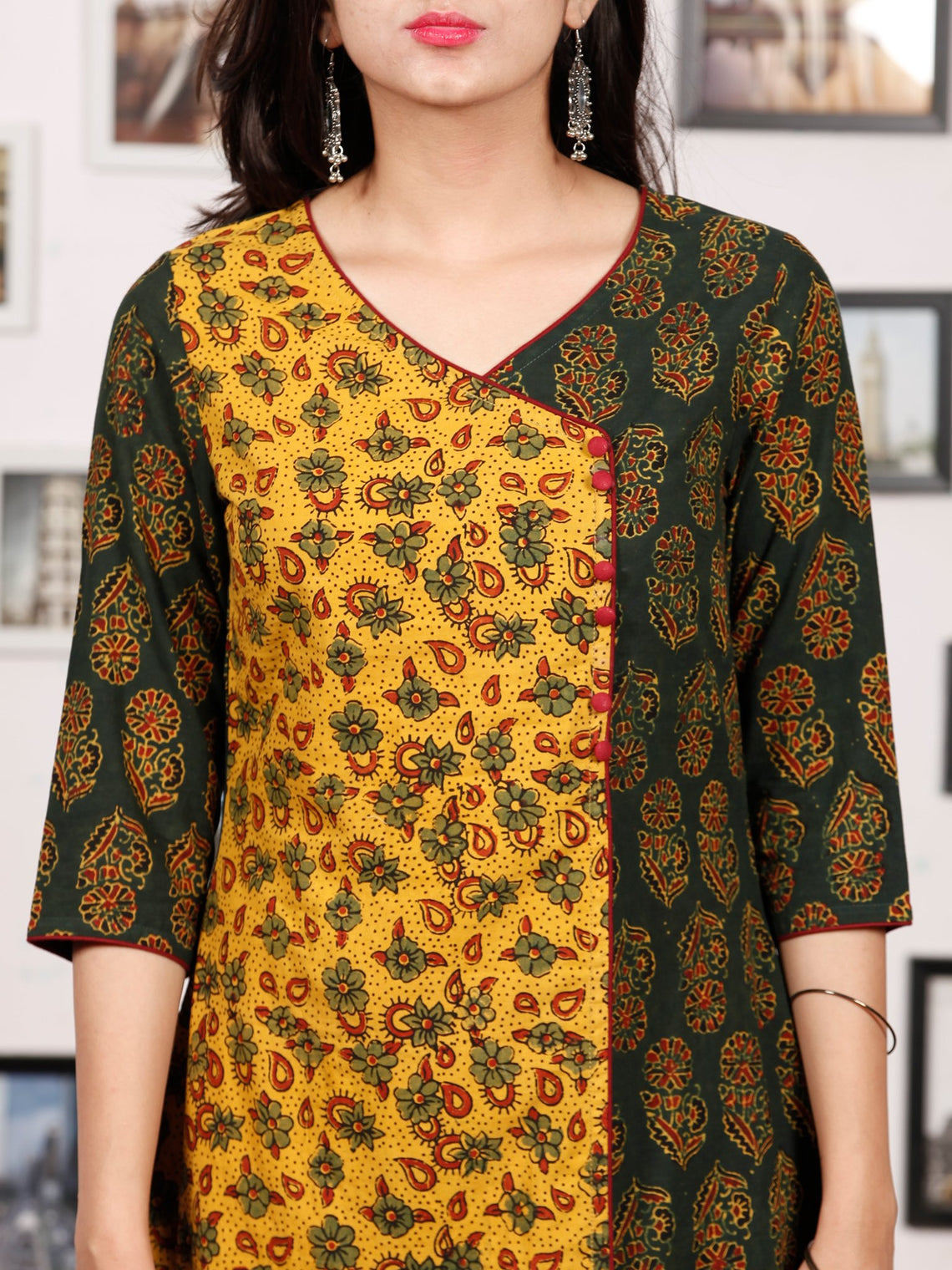 Yellow Bottle Green Ajrakh Hand Block Printed Kurta - K138f1684