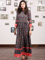 LEHERIYA LYRIC - Hand Block Printed Cotton Long Dress With Back Details  - D136F1366