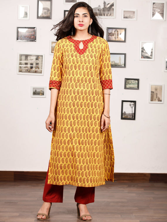 Yellow Maroon Bagh Printed Kurta in Natural Colors - K141F1709
