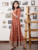 Red Indigo Beige Hand Block Printed Long Tunic & Cape Dress (Set of 2) - D291F888