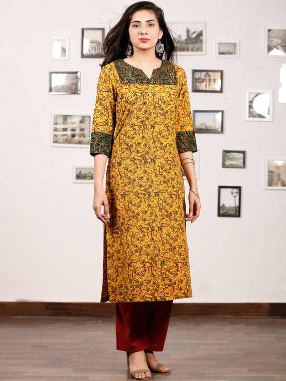 Yellow Green Maron Ajrakh Hand Block Printed Kurta With Pintuck - K144f1677