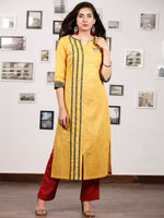 Yellow Green South Handloom Cotton Kurta With Ajrakh High Lighting   - K145FXXX