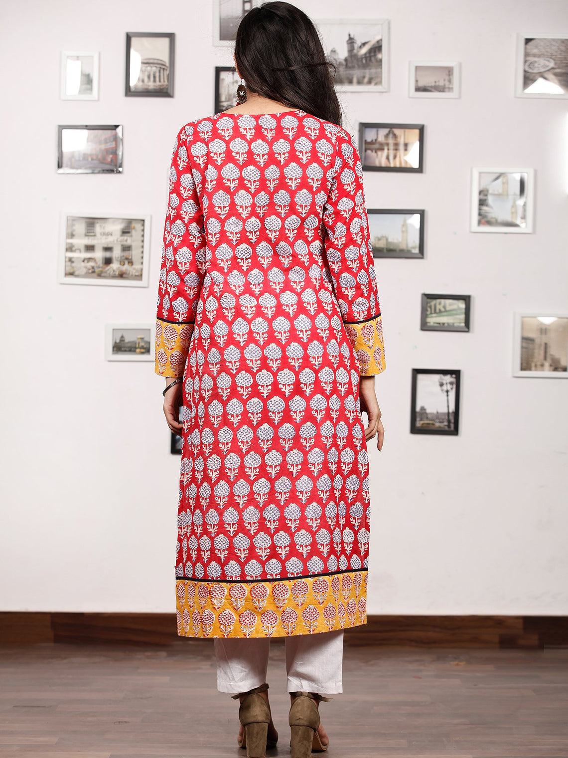 Red Yellow  Hand Block Printed Kurta With Natural  Colors - K150F780