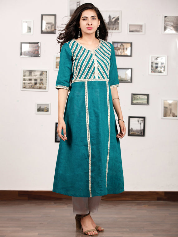 Teal Blue Off White South Handloom Cotton Kurta   - K148FXXX