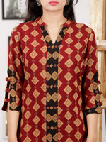 Maroon Black Mustard Hand Printed Ajrakh Rayon Long Kurta With 3/4th Sleeves - K100F1547