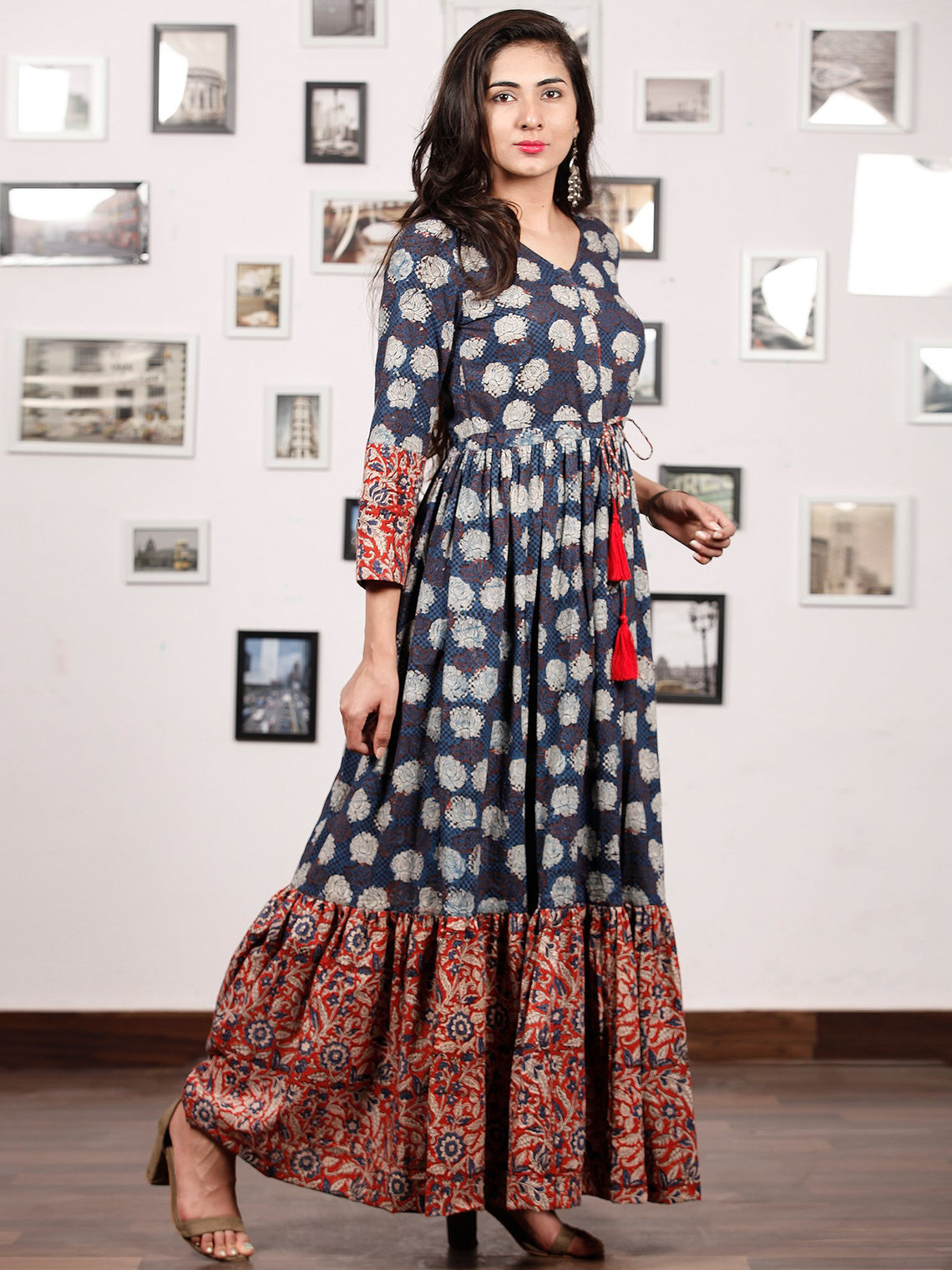 Floral Dress Up - Hand Block Printed Cotton Long Tie Up Waist Dress -  D170F1740