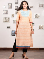 Peach Sky Blue South Handloom Cotton Kurta With Waves Pintucks   - K149FXXX