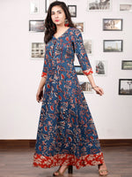 INDIGO SYMPHONY - Hand Block Printed Cotton Long Dress With Back Knots - D162F1333